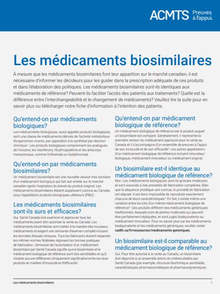 Les médicaments biosimilaires